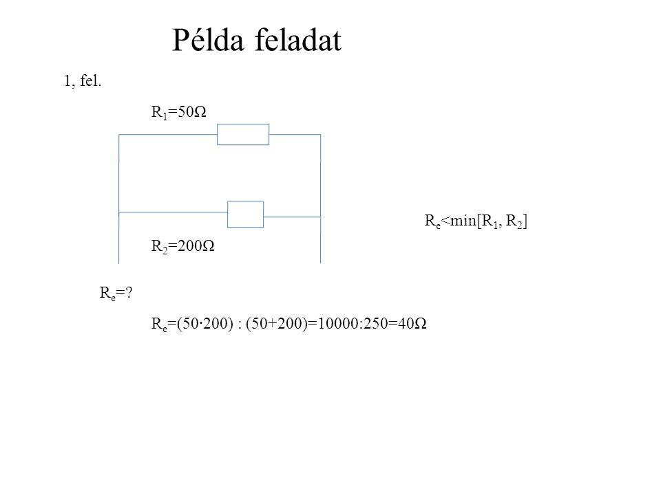 Példa feladat 1, fel. R1=50Ω Re<min[R1, R2] R2=200Ω Re=